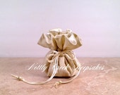 Bride / Bridesmaids Gifts / Shimmering Gold Drawstring Pouch Travel Bag /Jewelry Organizer /Cosmetic Bag/ You Choose the Inside Lining Color