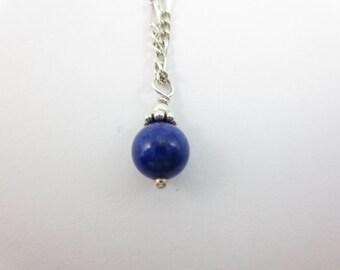 Lapis Lazuli - Lapis Pendant - Lapis Charm - Blue Pendant - Blue Charm - Stone Pendant - Stone Charm -  6 mm - On Silver or Gold