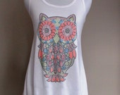 Colorful OWL rhinestone tank