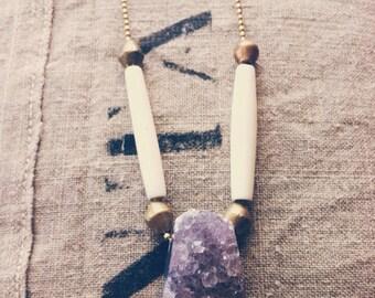 D E A D W O O D - Amethyst, Bone & Brass Necklace