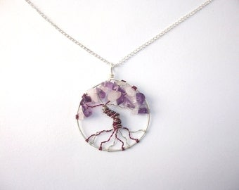 Amethyst tree necklace with rose quartz, pink and purple necklace, hippie gifts for her