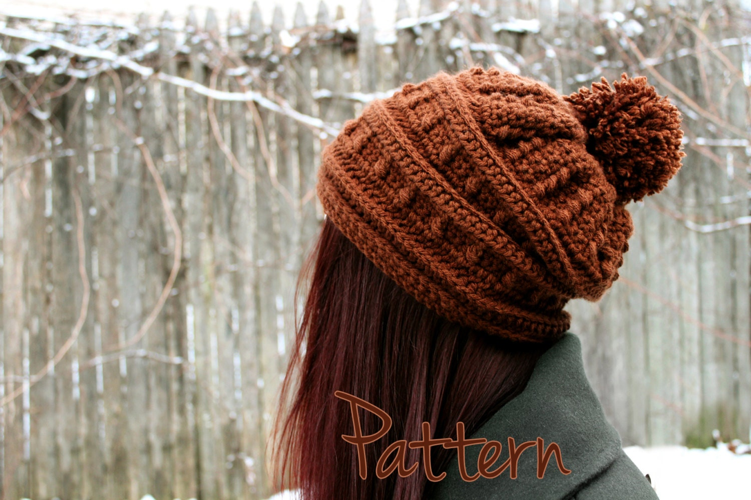 Crochet Pattern Slouchy Hat Womens Beanie Pom Pom Winter Puff by ...