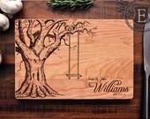 Personalized Cutting Board, Custom Wedding Gift, Housewarming Gift, Anniversary Gift, Engraved Wood Kitchen Decor, Hostess Gift, Oak Tree