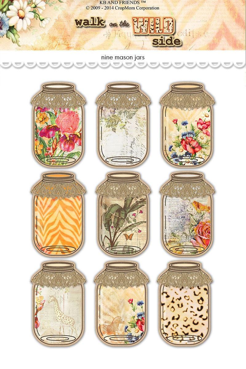 This is a graphic of Slobbery Printable Mason Jar