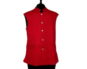 LONG Cotton Quilted WAISTCOAT - Red, reverse Grey - All sizes - Unisex