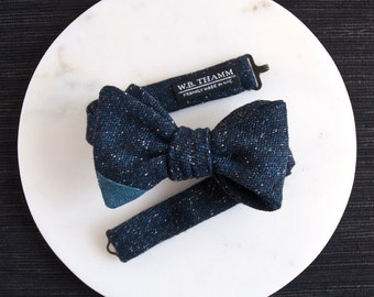 Patrick Men's Bow tie - Dark blue pebble wool with denim tip bowtie