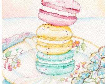 Macarons Watercolor Painting - Macarons Print - French Watercolor Print - Macaron Cookie Art - French Watercolor Painting - Baby Art