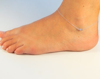 Silver cz anklet, sterling silver cubic zirconia, CZ ankle bracelet, CZ anklet, crystal anklet, summer time jewelry 034