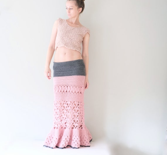 Maxi Skirt In Light Pink And Grey / Long Woman Crochet  Skirt