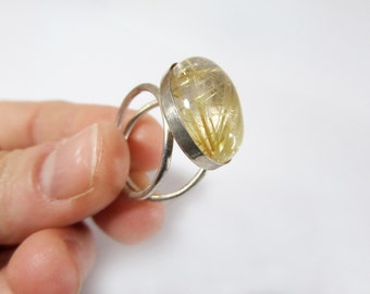 Golden Rutilated Quartz in Sterling Silver Two Ring, Beautiful Crystal Ring,Gemstone Ring, Quartz Ring,Ready to ship