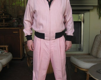 1950s Mens Suit Pink and Black Rayon Dead Stock Large XL RARE!!! Elvis