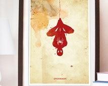 Vintage Spiderman Poster. Digital Print. Superhero artwork. Geek Boys Room Decor