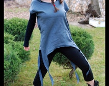 Little Trouble Girl - Festival Hoodie Wrap Shirt Pixie Dress Burning Man Dress Short Sleeves