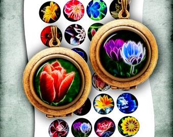 "Fractal Flowers 1.5"" 30mm 1"" 25mm Printable Round Images for Pendants Bottle caps Digital collage sheet Instant Download"