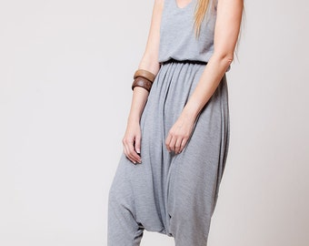 womens overall, Long Harem Pants, gray overall, women jumpsuite, body suite, turkish overall  sizes : XS / S / M / L / Xl