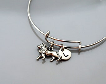 Lion Bangle, Lion bracelet, Lion charm jewelry, Silver lion charm bangle, Expandable bangle, Monogram, Initial bracelet