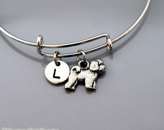 Bichon Frise bangle, Bichon Frise bracelet, Dog charm, Expandable bangle, Personalized bracelet, Charm bangle, Monogram, Initial bracelet