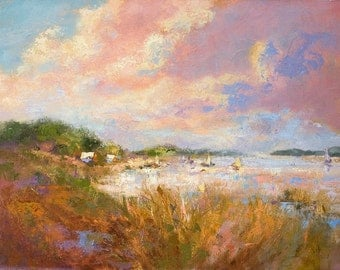 Mid Summer Dream | Pastel Color Coastal Landscape Painting by Dorothy Fagan