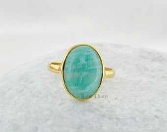 Amazonite Sterling Silver Ring, Amazonite Beautiful Oval 10x14mm Shape Micron Gold Plated 925 Sterling Silver Ring-#1095