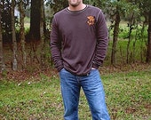 EGO Outfitter Men's Thermal Long Sleeve T Shirt (Brown), Featuring an Orange Deer