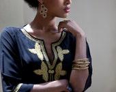 Short Kaftan Dress, Black Moroccan kaftan, Gold embroidery, Mini Dress, Available in Small Medium Large, caftan, Tribal, unique dress