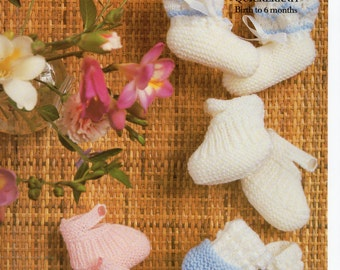 baby bootees booties shoes knitting pattern PDF sock shoes Newborn-6 months 3 Ply 4 Ply QK baby knitting pattern PDF instant download