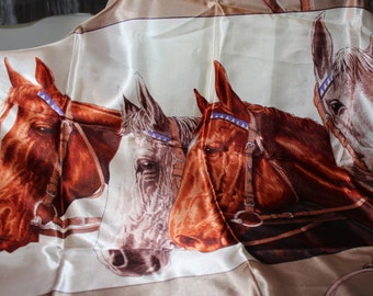 Horse Equestrian Scarf Vintage 1960's collectible