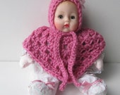Pink Baby Doll Clothes, Doll Bonnet and Poncho, Fits Huggums and 12 inch Dolls,  Crochet Doll Clothes, Doll Clothes