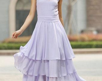Purple dress woman chiffon maxi dress prom dress wedding dress (929)