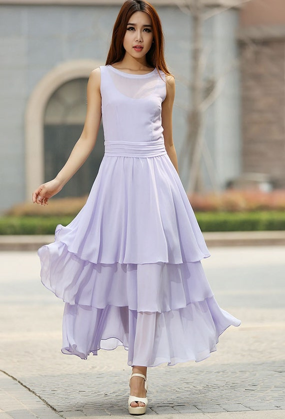 Items similar to purple dress woman chiffon maxi dress for Purple maxi dresses for weddings