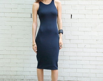 Party Dress Navy Blue Ponte Dress / Punto / Party Dress / Casual Dress / marcellamoda - MD081