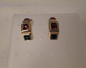 RHINESTONE PIERCED EARRINGS / Hoops / Green / Purple / Red / Gold / Classic / Traditional / Wedding / Prom / Fashionista / Mod / Accessories