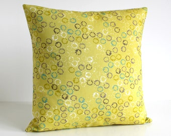 Designer Pillow Cover, 18 Inch Cushion Cover, Pillow Covers, Pillow Sham, Accent Pillow, 18x18 Pillow Cover - Abstract Rings Citrine