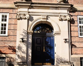 Blue Door Photography - Copenhagen Denmark Print - Navy Blue and Cream Decor Architecture Photo Street Photography Travel Wall Art