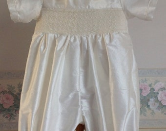 Antony, Hand smocked Silk Christening Romper and matching Cap, Ready to Ship, handmade,available in size 3 months
