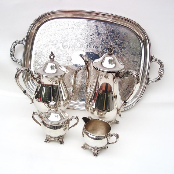 Vintage Coffee Set Serving Tray Silver Plate By