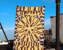 Baby quilt: Junaluska quilt   yellow black white handmade hand-sewn improv modern quilt