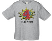 4th Birthday Shirt - Comic Book Superhero Birthday T-Shirt - Superhero Party - Distressed Graphic - Personalized Shirt - Choose Your Number
