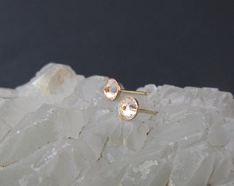 faceted citrine stud earrings, yellow post earrings bullet style post, yellow citrine earrings, mother's day gift, gold stud earrings