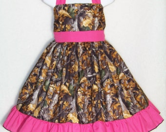 CAMO Halter Dress / Realtree AT + Hot Pink / Flower Girl / Pageant / Wedding / Bridesmaid/ Infant/ Baby / Girl / Toddler / Boutique Clothing