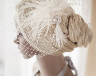 Wedding Fascinator, Bridal Fascinator, Feather, Wedding Veil, Bridal Headpiece, White and Ivory The Couture Bride, Brooch {Megan}