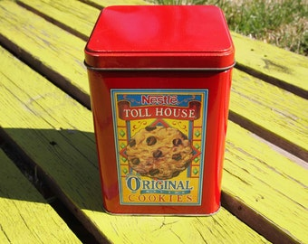 Vintage Tin, Nestle Tin, Red Cookie Tin, Collectible Tin, Chocolate Chip Cookie Tin, Nestle Cookie Tin, Original Toll House Tin, Toll House