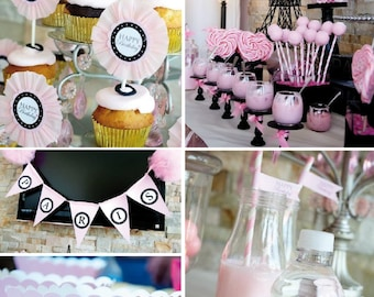 PARIS Party Printable Set - Invitation, Cupcake Toppers, Bunting, Favor Tags & more - Immediate Download
