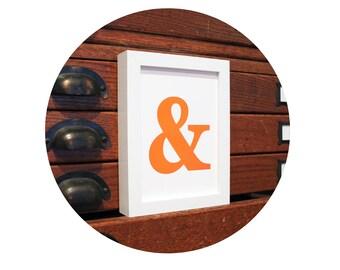AMPERSAND & And Symbol Typography ART PRINT Orange