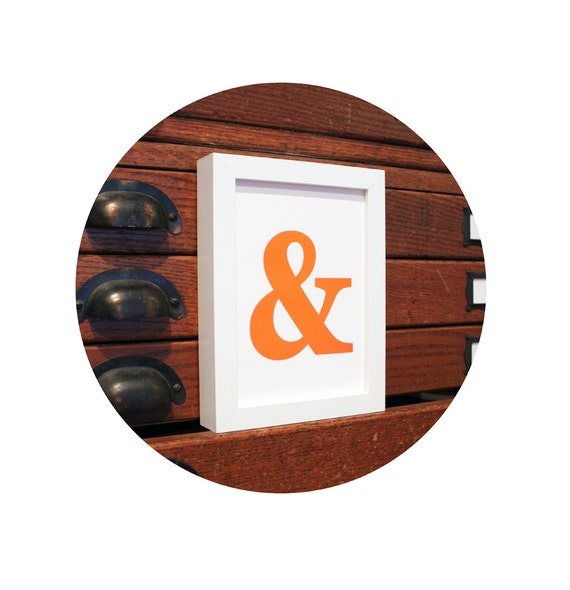 AMPERSAND & And Symbol Typography ART PRINT Orange