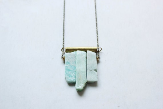 mint  blue Amazonite necklace-rough raw geometric gemstone Necklace-vintage brass bar necklace-fan necklace-chevron-geometric brass necklace