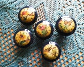 Drawer Knobs...Nail Covers..Vintage Time Garden Black Decorative Pulls..Cabinet & Dresser Knobs Or Nail Covers..Hand Decorated