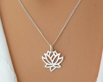 Lotus Necklace, Sterling Silver Flower Necklace, Lotus Jewelry, Best Friend Gift, Gift for Sister, Mom, Friend, Christmas Gift
