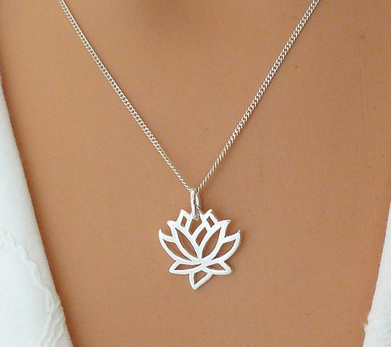 lotus necklace sterling silver flower necklace by saraandjane