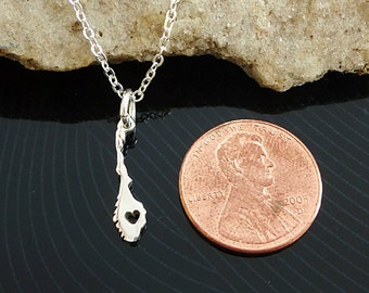 Tiny Sterling Silver Norway Necklace / Custom Heart / Small Norway Necklace / Love Norway / Country Necklace / Norway Wedding